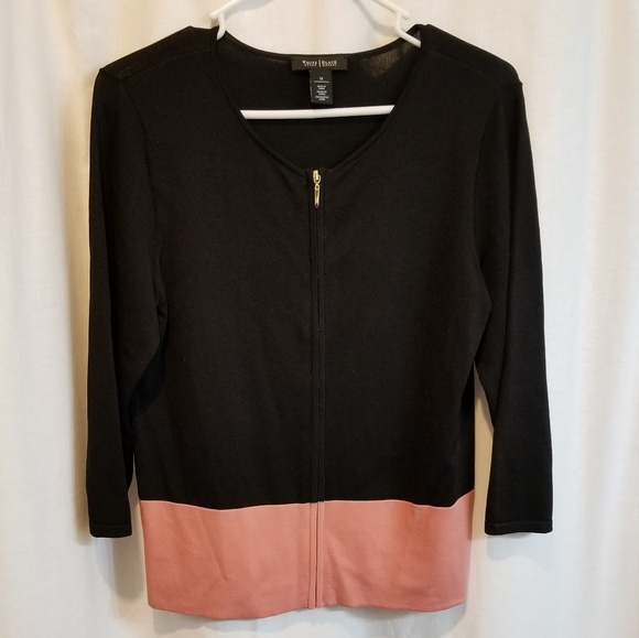White House Black Market Sweaters - BHWM black and rose gold cardigan 3/4 length sleev